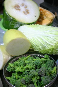 保存野菜とスティックセニョール